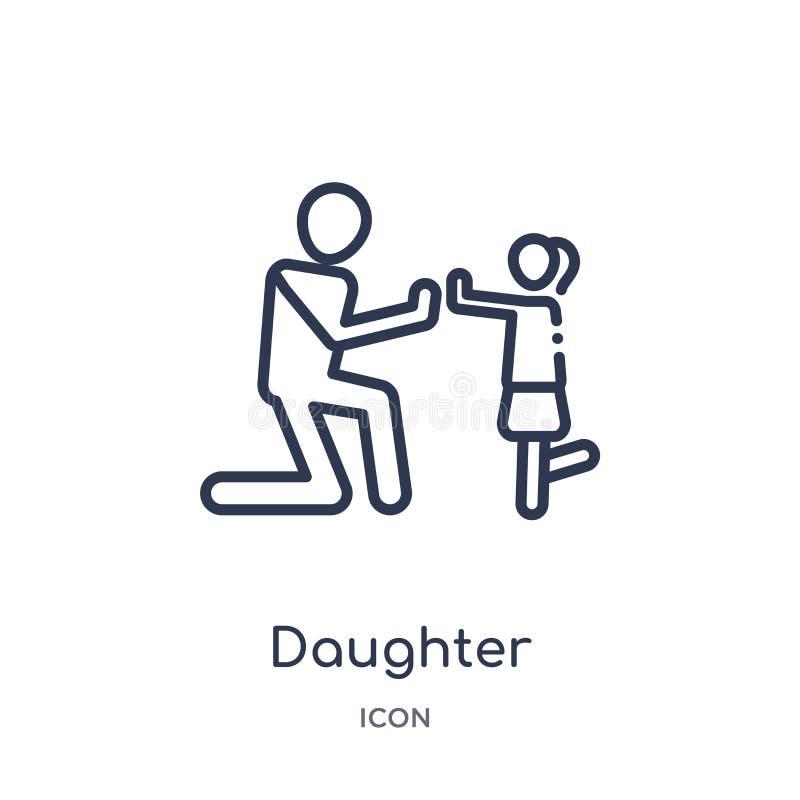 Линейный значок дочери от собрания плана отношений семьи Тонкая линия вектор дочери изолированный на белой предпосылке дочь иллюстрация штока