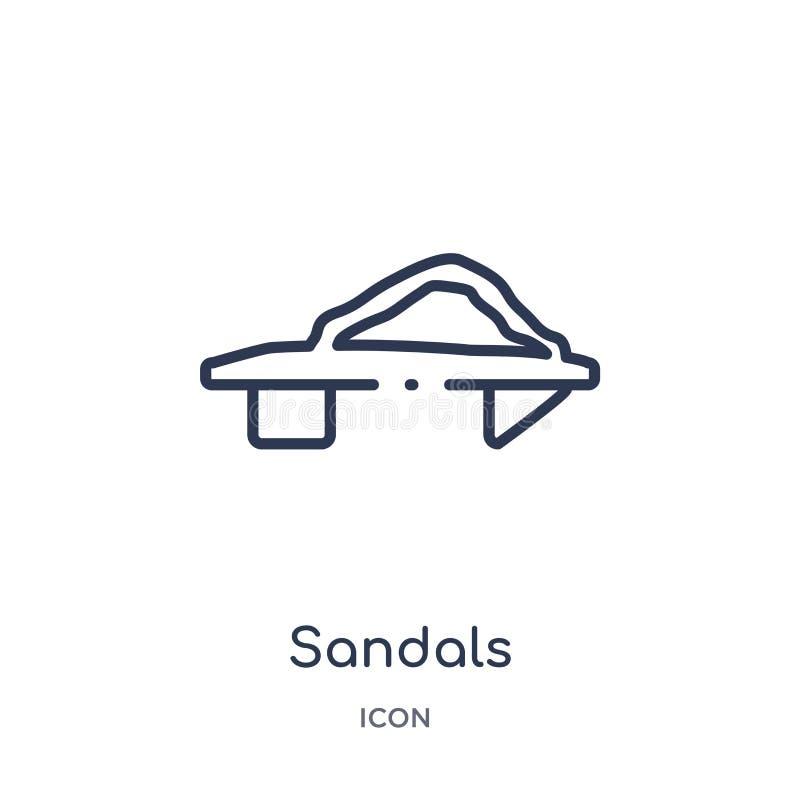 Линейный значок сандалий от азиатского собрания плана Тонкая линия вектор сандалий изолированный на белой предпосылке сандалии ул иллюстрация штока