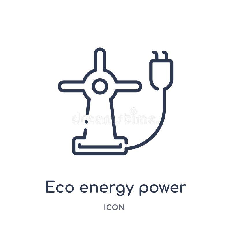 Линейный значок силы энергии eco от собрания плана экологичности Тонкая линия вектор силы энергии eco изолированный на белой пред иллюстрация вектора