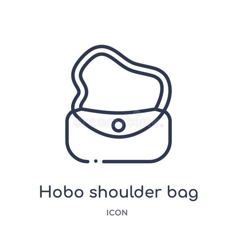 Линейный значок сумки hobo от собрания плана моды Тонкая линия значок сумки hobo изолированный на белой предпосылке hobo бесплатная иллюстрация