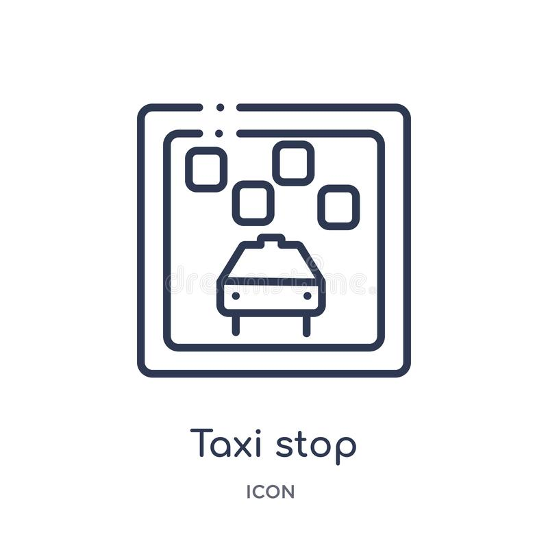 Линейный значок стопа такси от собрание плана карт и флагов Тонкая линия значок стопа такси изолированный на белой предпосылке Ст иллюстрация вектора