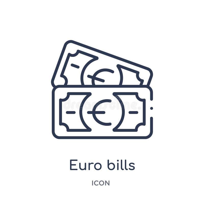 Линейный значок счетов евро от собрания плана дела Тонкая линия значок счетов евро изолированный на белой предпосылке счеты евро  иллюстрация вектора