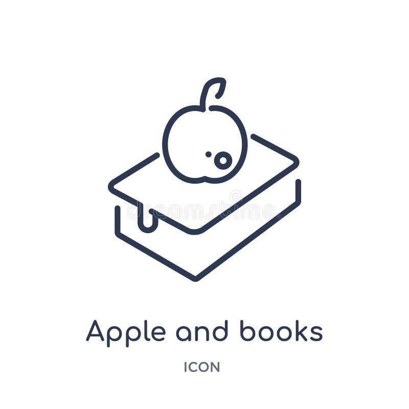 Линейный значок яблока и книг от собрания плана экологичности Тонкая линия яблоко и вектор книг изолированный на белой предпосылк бесплатная иллюстрация