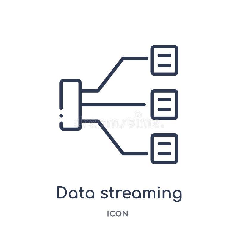 Линейный значок течь данных от безопасности интернета и собрания плана сети Тонкая линия значок течь данных изолированный дальше иллюстрация вектора