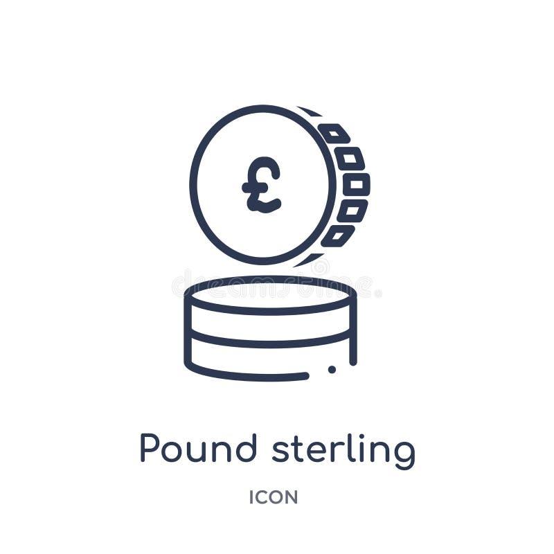 Линейный значок фунта стерлингов от экономики Cryptocurrency и собрания плана финансов Тонкая линия вектор фунта стерлингов изоли иллюстрация штока