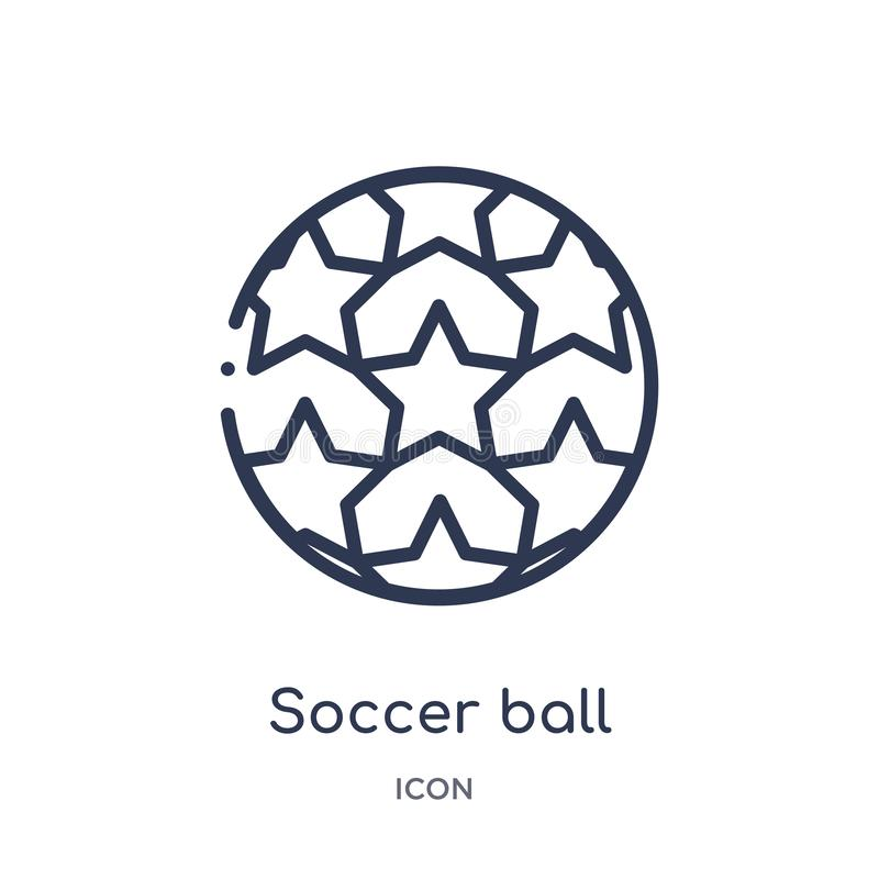 Линейный значок футбольного мяча от собрания плана футбола Тонкая линия вектор футбольного мяча изолированный на белой предпосылк иллюстрация штока