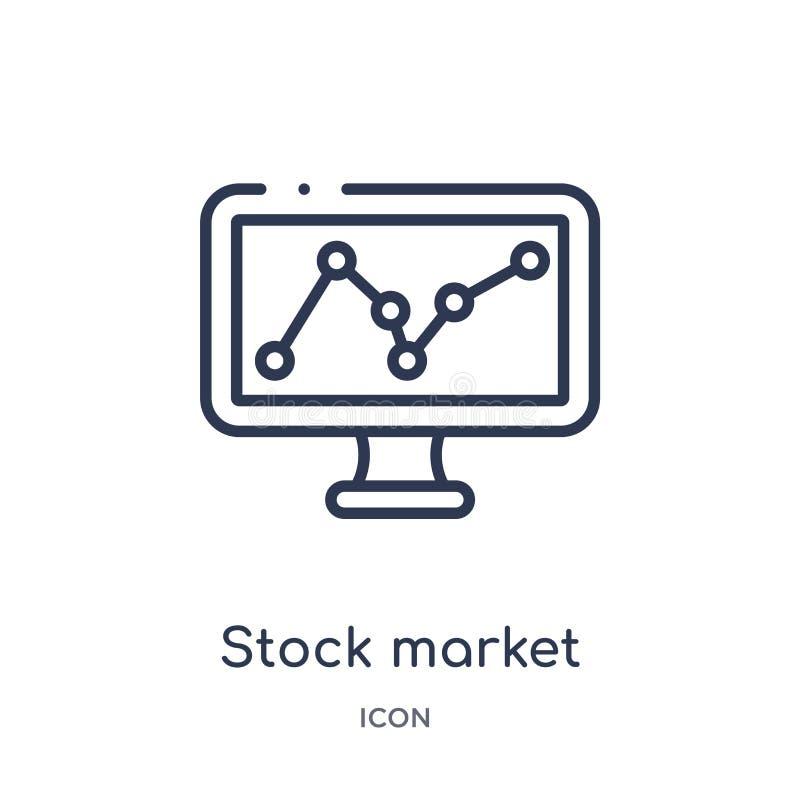 Линейный значок фондовой биржи от собрания плана дела и аналитика Тонкая линия вектор фондовой биржи изолированный на белизне иллюстрация вектора