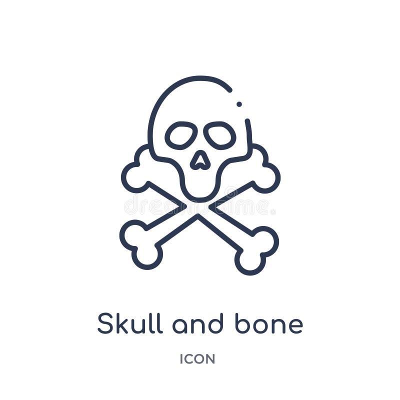 Линейный значок черепа и косточки от медицинского собрания плана Тонкая линия череп и значок косточки изолированный на белой пред иллюстрация вектора