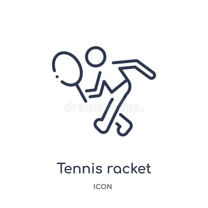 Линейный значок ракетки тенниса от собрания плана свободного времени Тонкая линия вектор ракетки тенниса изолированный на белой п иллюстрация вектора