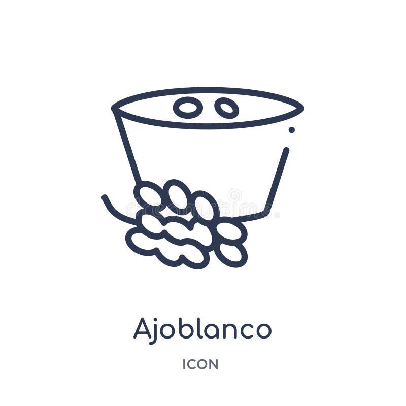 Линейный значок ajoblanco от собрания плана культуры Тонкая линия вектор ajoblanco изолированный на белой предпосылке ajoblanco у бесплатная иллюстрация