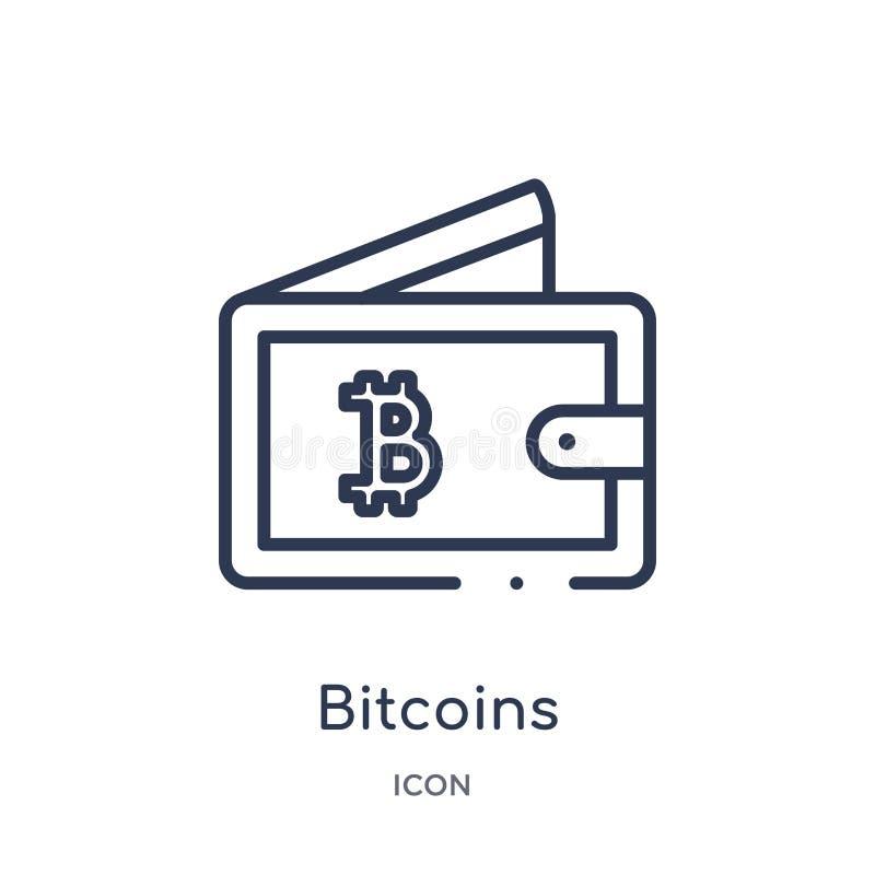 Линейный значок bitcoins от экономики Cryptocurrency и собрания плана финансов Тонкая линия вектор bitcoins изолированный на бели бесплатная иллюстрация