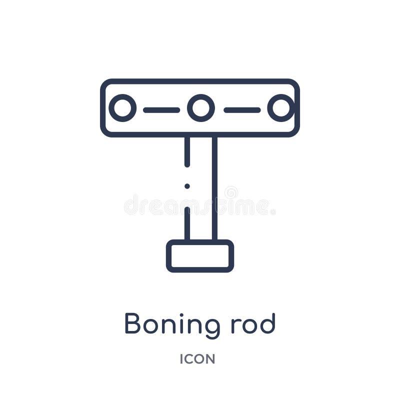Линейный значок boning штанги от собрания плана инструментов конструкции Тонкая линия вектор boning штанги изолированный на белой бесплатная иллюстрация