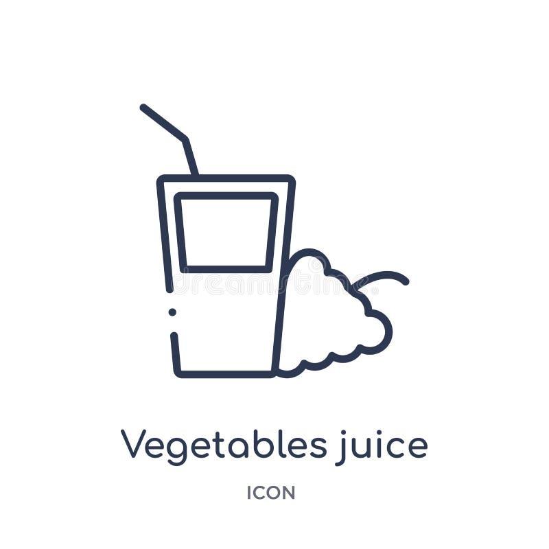 Линейный значок сока овощей от спортзала и собрания плана фитнеса Тонкая линия значок сока овощей изолированный на белой предпосы бесплатная иллюстрация