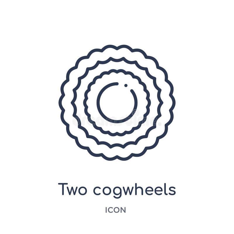 Линейный значок 2 cogwheels от собрания плана Mechanicons Тонкая линия 2 значок cogwheels изолированный на белой предпосылке 2 иллюстрация вектора