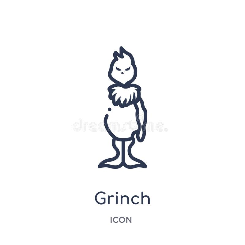 Линейный значок grinch от собрания плана рождества Тонкая линия значок grinch изолированный на белой предпосылке grinch ультрамод иллюстрация вектора