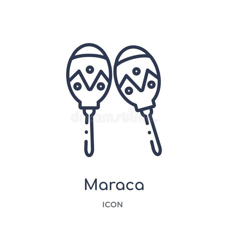 Линейный значок maraca от собрания плана Африки Тонкая линия вектор maraca изолированный на белой предпосылке maraca ультрамодное иллюстрация штока