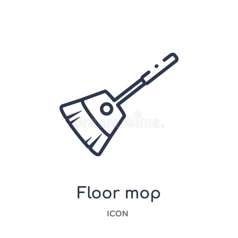Линейный значок mop пола от очищая собрания плана Тонкая линия вектор mop пола изолированный на белой предпосылке mop пола ультра иллюстрация вектора