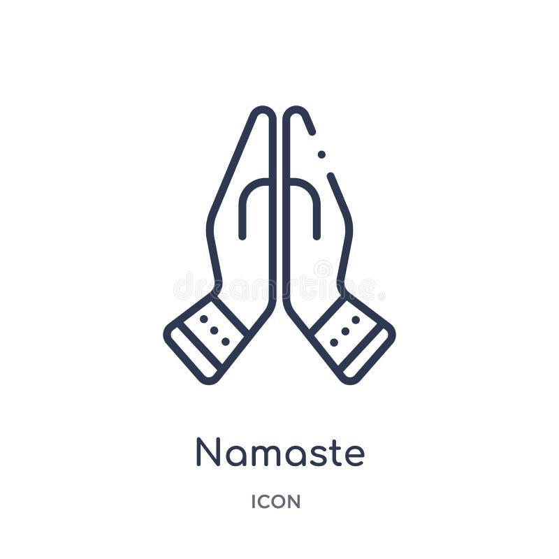 Линейный значок namaste от собрания плана Индии и holi Тонкая линия значок namaste изолированный на белой предпосылке namaste уль бесплатная иллюстрация
