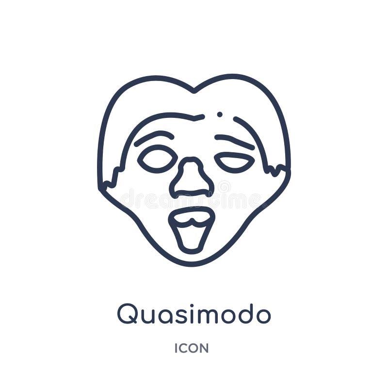 Линейный значок quasimodo от собрания плана образования Тонкая линия вектор quasimodo изолированный на белой предпосылке quasimod бесплатная иллюстрация