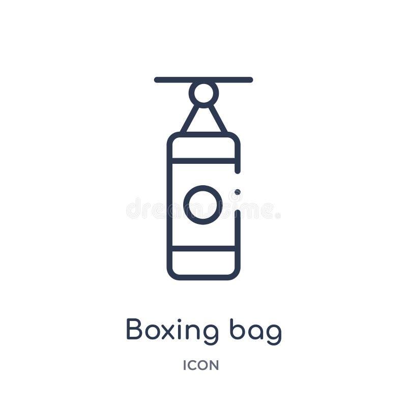 Линейный кладя в коробку значок сумки от спортзала и собрания плана фитнеса Тонкая линия кладя в коробку значок сумки изолированн иллюстрация штока