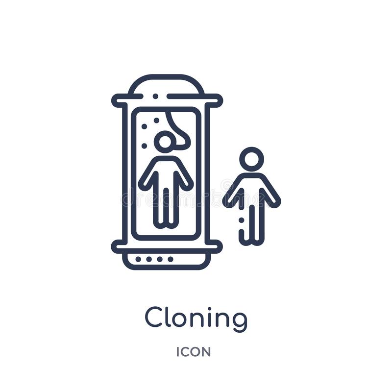 Линейный клонируя значок от будущего собрания плана технологии Тонкая линия значок клонирования изолированный на белой предпосылк иллюстрация вектора