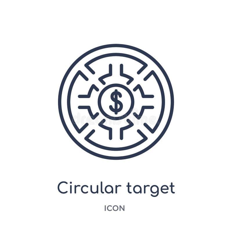 Линейный круговой значок цели от собрания плана дела Тонкая линия круговой значок цели изолированный на белой предпосылке иллюстрация вектора