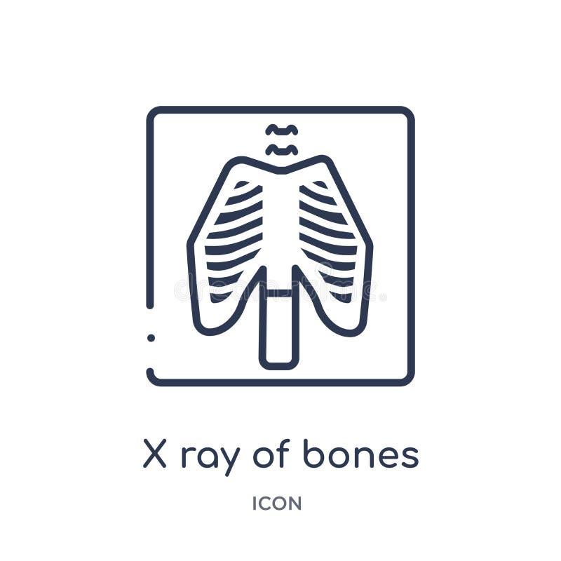 Линейный луч x значка косточек от медицинского собрания плана Тонкая линия луч x из значка косточек изолированный на белой предпо бесплатная иллюстрация