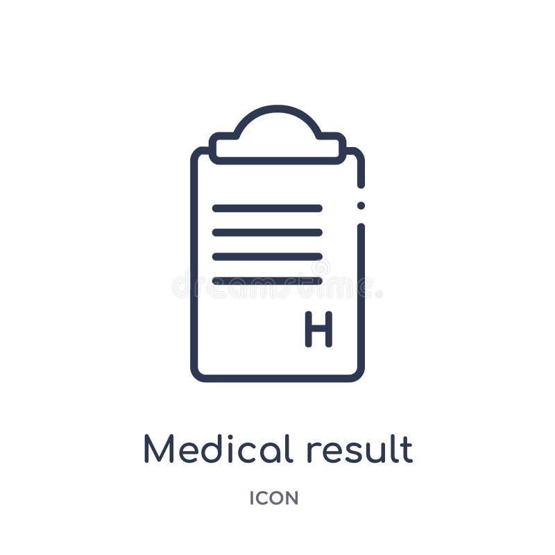 Линейный медицинский значок результата от здоровья и медицинского собрания плана Тонкая линия медицинский значок результата изоли иллюстрация вектора