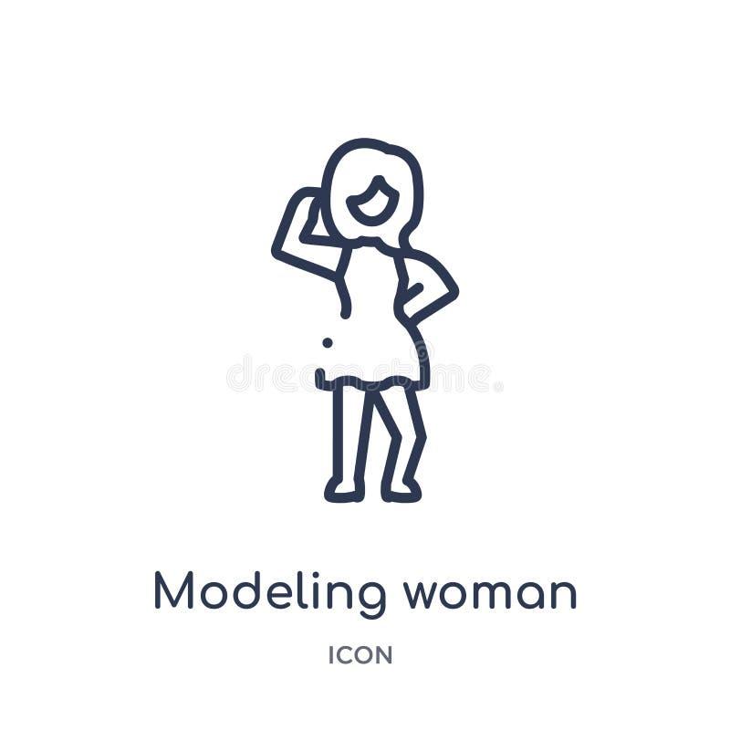 Линейный моделируя значок женщины от собрания плана дам Тонкая линия моделируя значок женщины изолированный на белой предпосылке  иллюстрация вектора