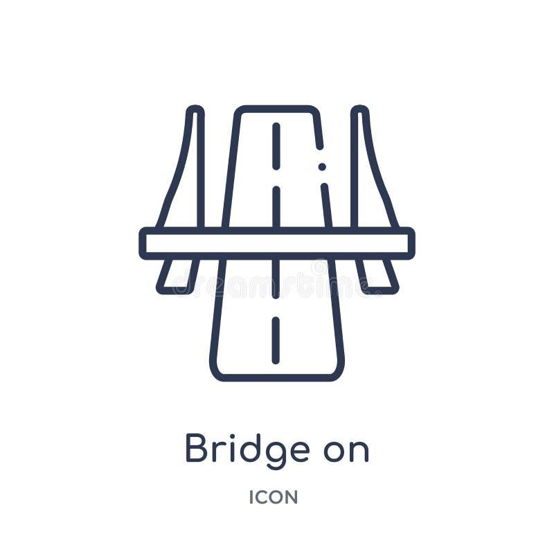 Линейный мост на значке перспективы бульвара от собрания общего плана Тонкая линия мост на значке перспективы бульвара изолирован иллюстрация штока