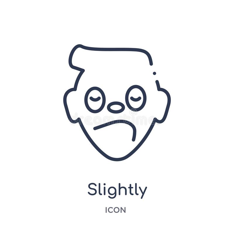 Линейный немножко хмурясь значок emoji от собрания плана Emoji Тонкая линия немножко хмурясь вектор emoji изолированный на белизн иллюстрация вектора