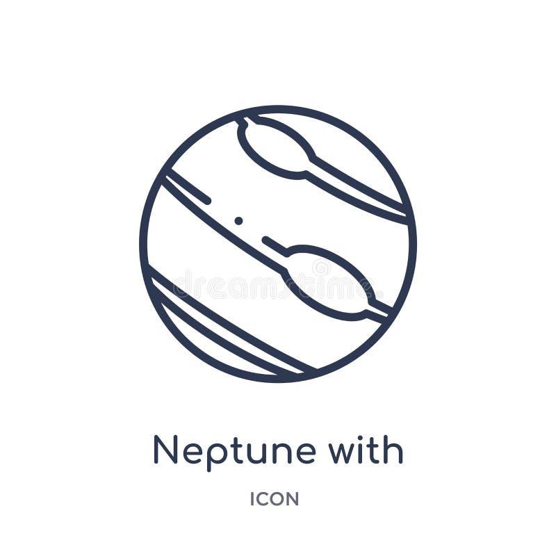 Линейный Нептун со спутниковым значком от собрания плана астрономии Тонкая линия Нептун со спутниковым вектором изолированным на  бесплатная иллюстрация
