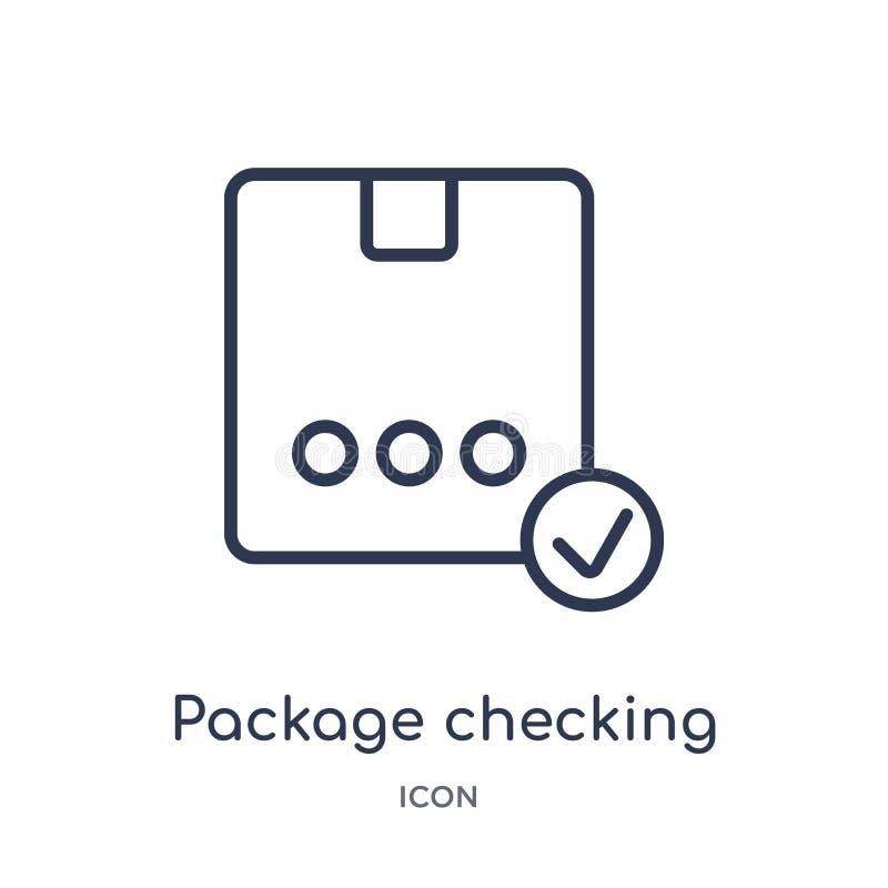 Линейный пакет проверяя значок от доставки и логистического собрания плана Тонкая линия пакет проверяя вектор изолированный на бе бесплатная иллюстрация