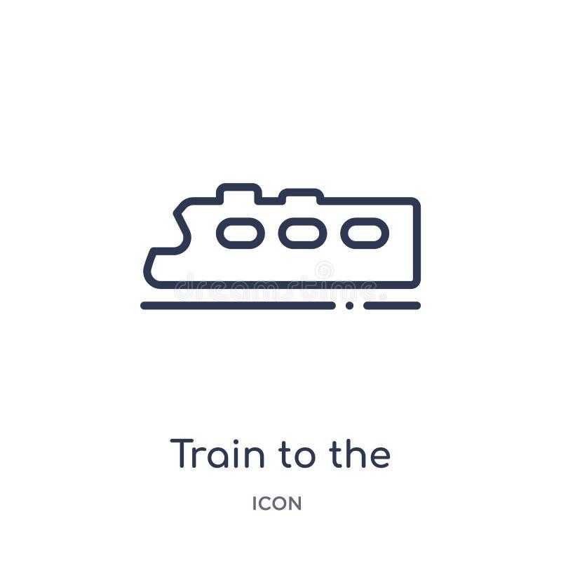 Линейный поезд к значку аэропорта от собрания плана крупного аэропорта Тонкая линия поезд к вектору аэропорта изолированный на бе иллюстрация вектора