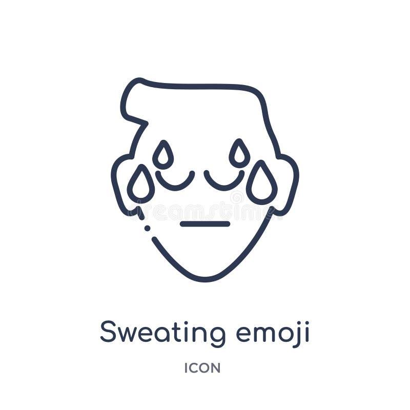 Линейный потея значок emoji от собрания плана Emoji Тонкая линия потея вектор emoji изолированный на белой предпосылке потеть бесплатная иллюстрация