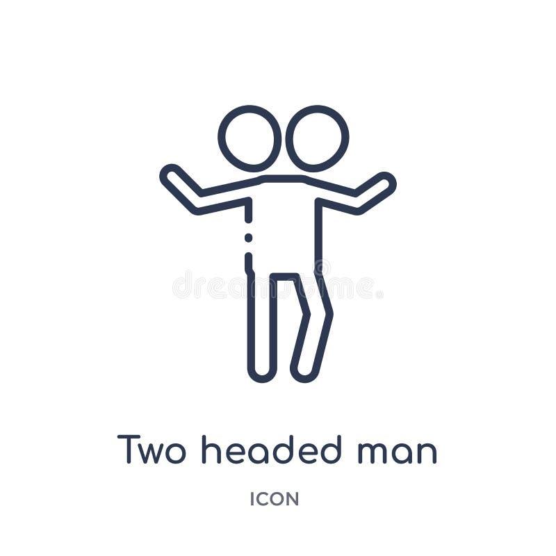 Линейный двухголовый значок человека от собрания плана цирка Тонкая линия двухголовый вектор человека изолированный на белой пред иллюстрация вектора