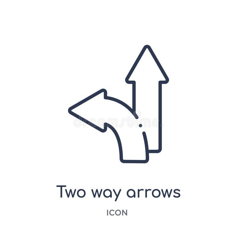 Линейный двухсторонний значок стрелок от собрания плана дела Тонкая линия двухсторонний значок стрелок изолированный на белой пре бесплатная иллюстрация