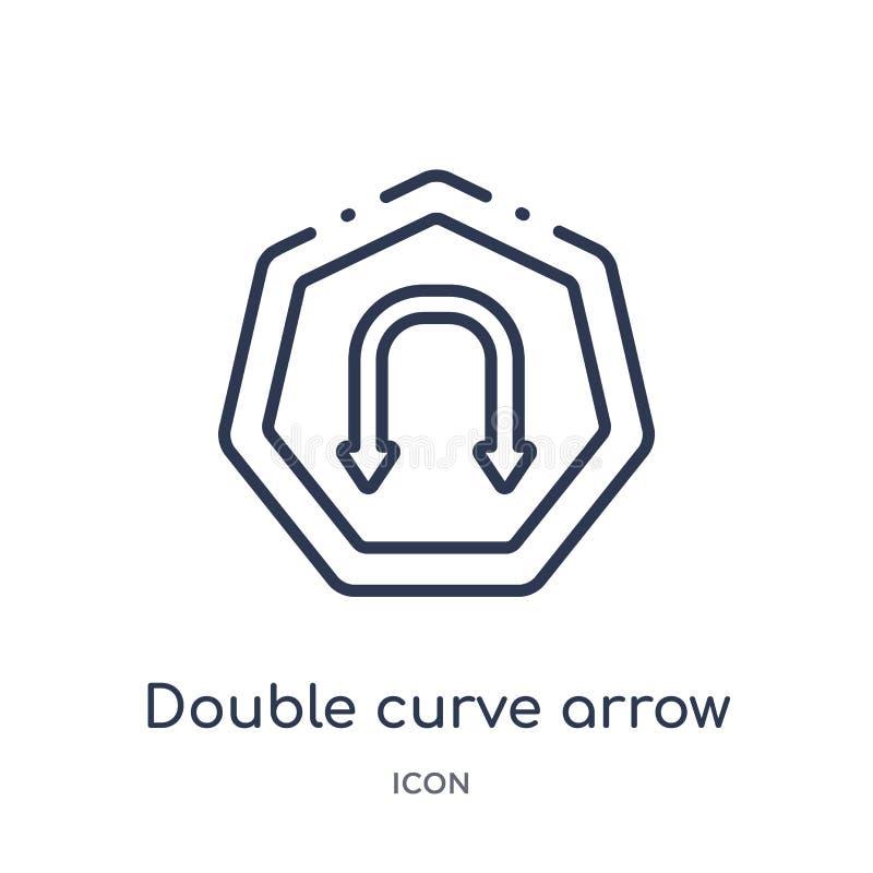 Линейный двойной значок стрелки кривой от собрания плана стрелок Тонкая линия вектор стрелки кривой двойника изолированный на бел иллюстрация штока
