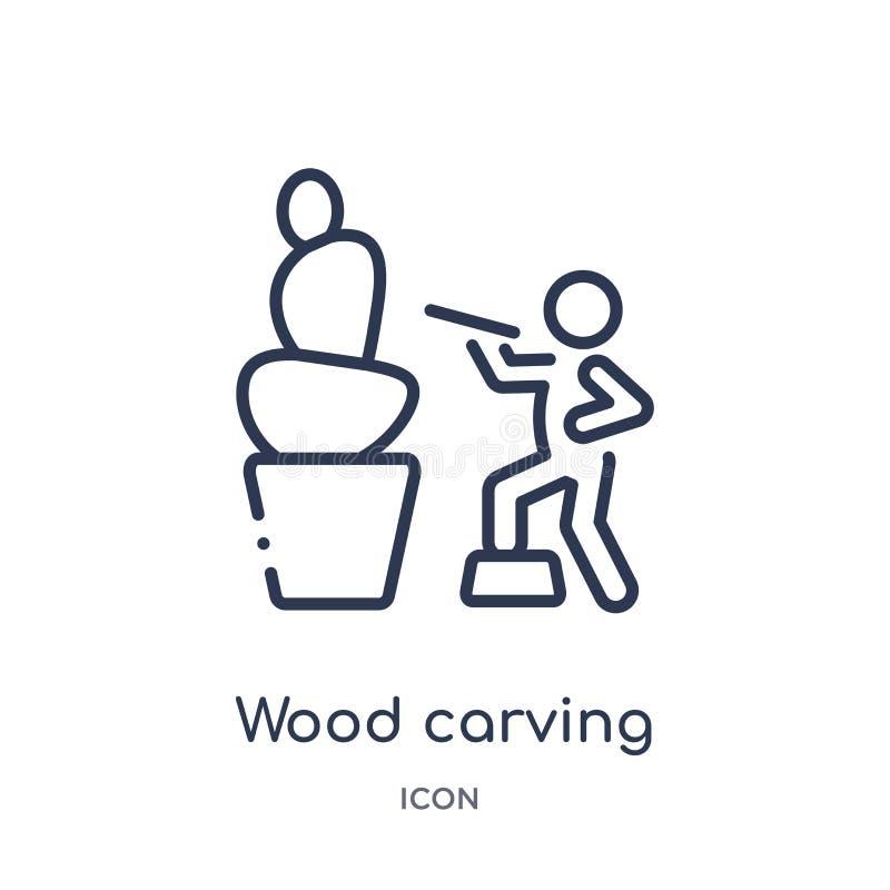 Линейный деревянный высекая значок от деятельности и собрания плана хобби Тонкая линия деревянный высекая вектор изолированный на иллюстрация штока