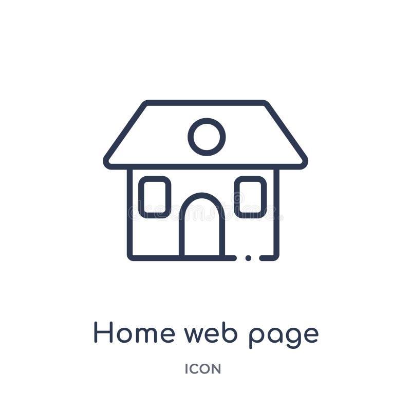 Линейный домашний значок интернет-страницы от собрания плана зданий Тонкая линия значок интернет-страницы дома изолированный на б бесплатная иллюстрация