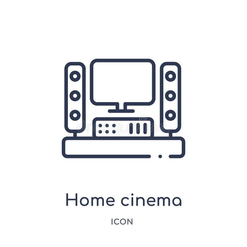 Линейный домашний значок кино от собрания плана кино Тонкая линия вектор кино дома изолированный на белой предпосылке Домашнее ки иллюстрация штока