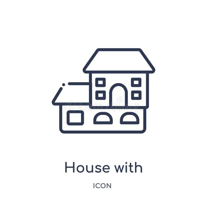 Линейный дом с деревянным значком крыши от собрания плана зданий Тонкая линия дом с деревянным значком крыши изолированным на бел бесплатная иллюстрация