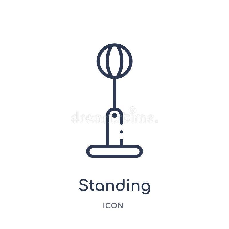 Линейный стоящий значок пробивая шарика от спортзала и собрания плана фитнеса Тонкая линия значок пробивая шарика положения изоли иллюстрация вектора