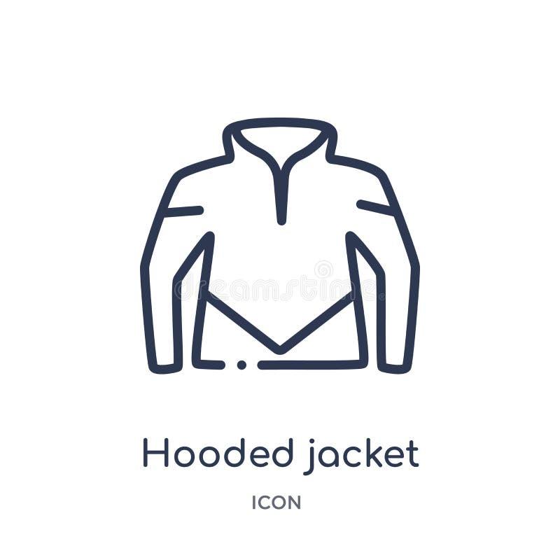 Линейный с капюшоном значок куртки от собрания плана одежд Тонкая линия с капюшоном вектор куртки изолированный на белой предпосы иллюстрация вектора