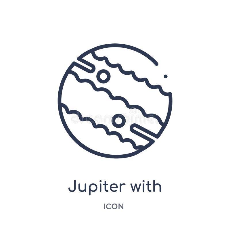 Линейный Юпитер со спутниковым значком от собрания плана астрономии Тонкая линия Юпитер со спутниковым вектором изолированный на  иллюстрация штока