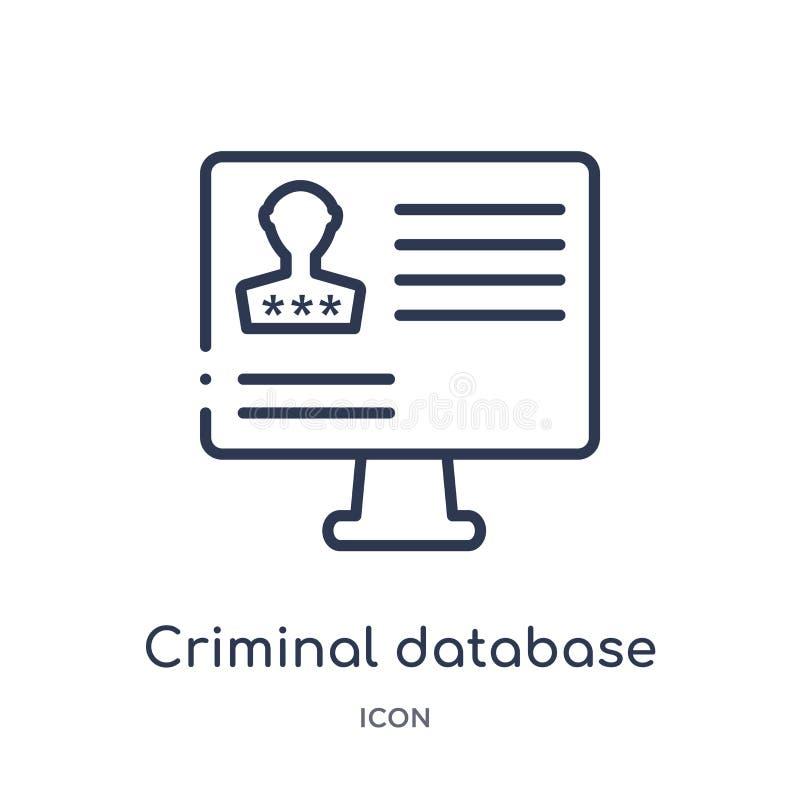 Линейный уголовный значок базы данных от собрания плана закона и правосудия Тонкая линия уголовный значок базы данных изолированн иллюстрация вектора