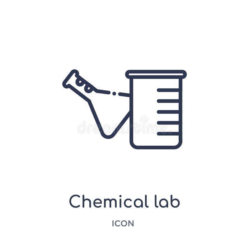 Линейный химический значок лаборатории от собрания общего плана Тонкая линия химический значок лаборатории изолированный на белой бесплатная иллюстрация