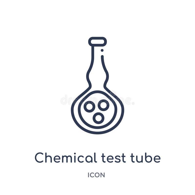 Линейный химический значок пробирки от собрания плана образования Тонкая линия химический значок пробирки изолированный на белой  иллюстрация штока