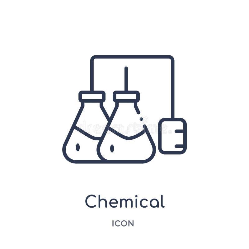 Линейный химический значок от собрания плана индустрии Тонкая линия химический значок изолированный на белой предпосылке химическ бесплатная иллюстрация