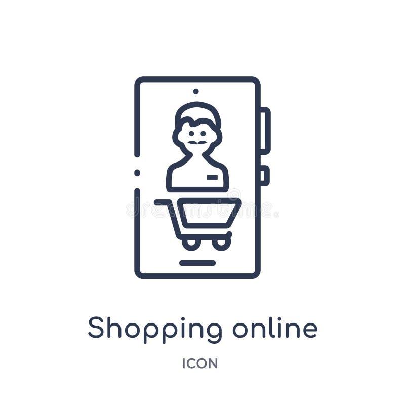 Линейный ходя по магазинам онлайн значок от собрания плана блоггера и influencer Тонкая линия ходя по магазинам онлайн вектор изо иллюстрация вектора
